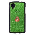 Personalized name santa owl green glitter carved® maple nexus 5 case