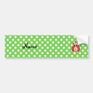 Personalized name santa owl green polka dots bumper sticker
