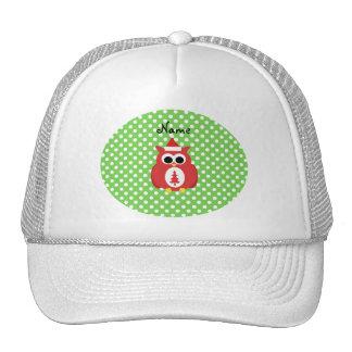 Personalized name santa owl green polka dots trucker hat