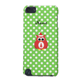 Personalized name santa owl green polka dots iPod touch (5th generation) cover