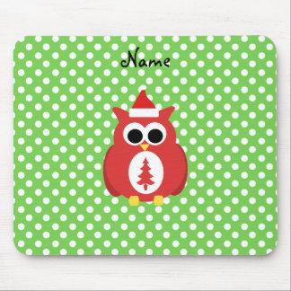 Personalized name santa owl green polka dots mouse pad