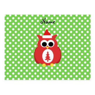 Personalized name santa owl green polka dots post cards