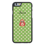 Personalized name santa owl green polka dots carved® maple iPhone 6 case