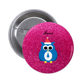 Personalized name santa owl pink glitter 2 inch round button