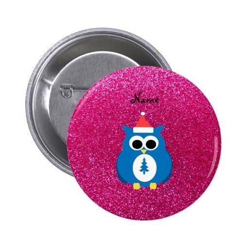 Personalized name santa owl pink glitter pinback button