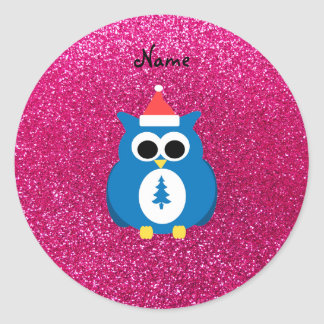 Personalized name santa owl pink glitter classic round sticker