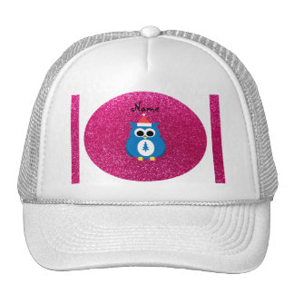 Personalized name santa owl pink glitter trucker hats