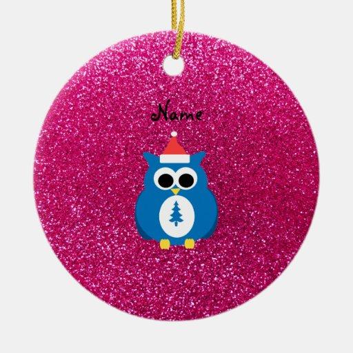 Personalized name santa owl pink glitter ornament