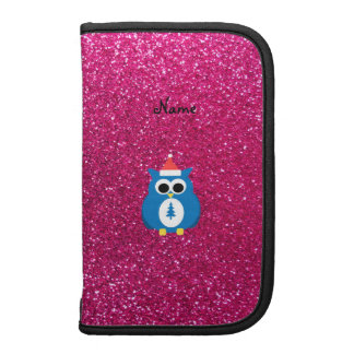 Personalized name santa owl pink glitter organizer
