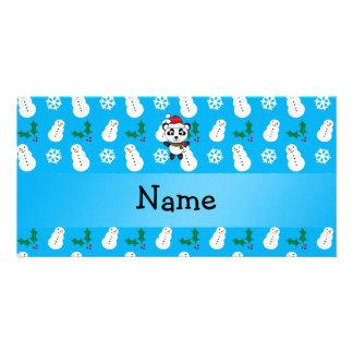 Personalized name santa panda bear blue snowman photo card