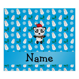 Personalized name santa panda bear blue snowman posters