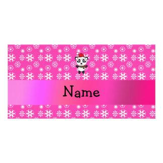 Personalized name santa panda bear pink snowflakes photo card