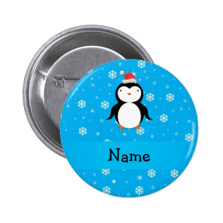 Personalized name santa penguin blue snowflakes button