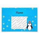Personalized name santa penguin blue snowflakes photo print