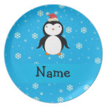 Personalized name santa penguin blue snowflakes plate