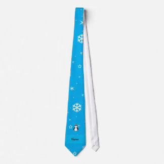Personalized name santa penguin blue snowflakes tie