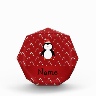 Personalized name santa penguin candy canes award