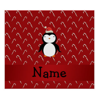 Personalized name santa penguin candy canes print