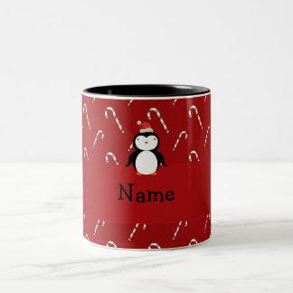 Personalized name santa penguin candy canes Two-Tone coffee mug