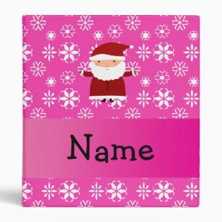 Personalized name santa pink snowflakes vinyl binders