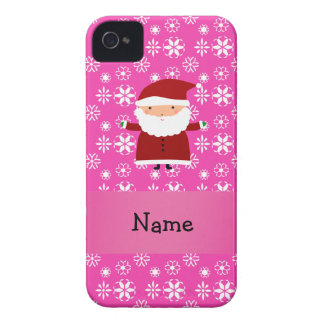 Personalized name santa pink snowflakes Case-Mate iPhone 4 case