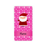 Personalized name santa pink snowflakes custom address labels
