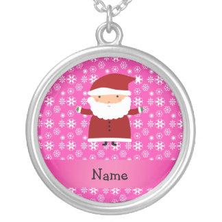 Personalized name santa pink snowflakes necklaces