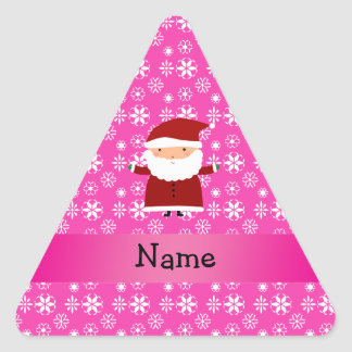Personalized name santa pink snowflakes triangle sticker