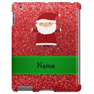 Personalized name santa red glitter