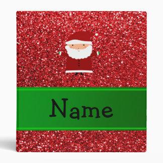 Personalized name santa red glitter 3 ring binder
