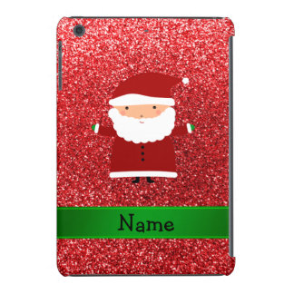Personalized name santa red glitter iPad mini retina cover