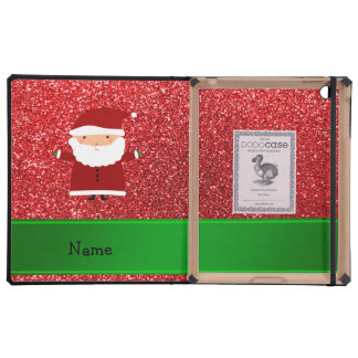 Personalized name santa red glitter cases for iPad
