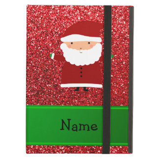 Personalized name santa red glitter iPad air case