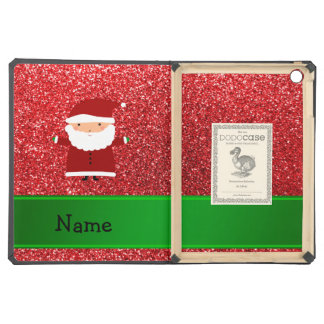 Personalized name santa red glitter iPad air cover