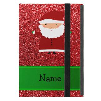 Personalized name santa red glitter iPad mini cover