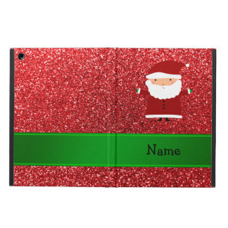 Personalized name santa red glitter cover for iPad air