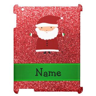 Personalized name santa red glitter iPad case