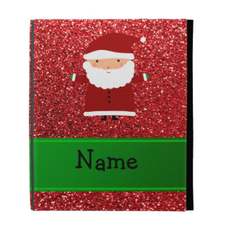 Personalized name santa red glitter iPad cases