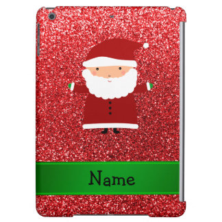 Personalized name santa red glitter iPad air covers