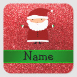 Personalized name santa red glitter stickers