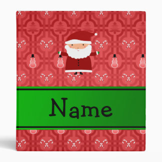 Personalized name santa red snowman trellis vinyl binder