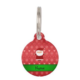 Personalized name santa red snowman trellis pet name tag