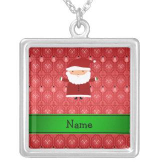 Personalized name santa red snowman trellis custom jewelry