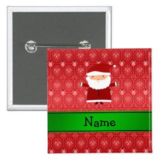 Personalized name santa red snowman trellis pinback button