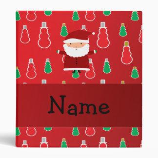 Personalized name santa red snowmen vinyl binders