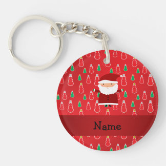 Personalized name santa red snowmen Double-Sided round acrylic keychain