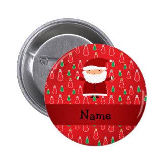 Personalized name santa red snowmen pinback button