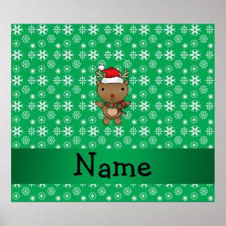 Personalized name santa reindeer green snowflakes posters