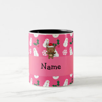 Personalized name santa reindeer pink snowman mug