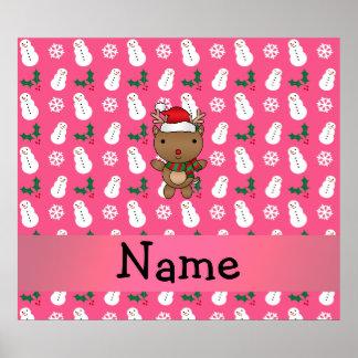 Personalized name santa reindeer pink snowman posters